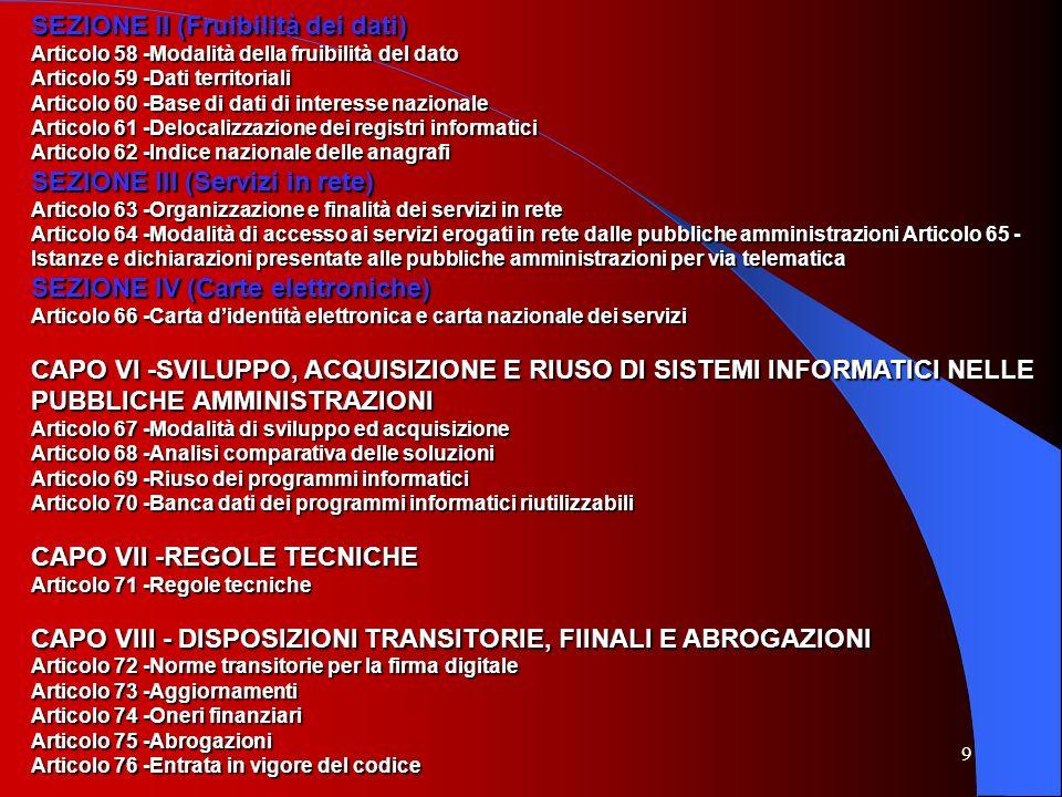 SEZIONE II (Fruibilità dei dati)