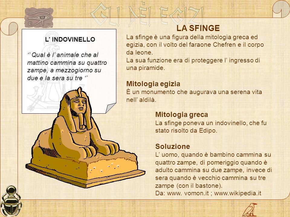 LA SFINGE Mitologia egizia Mitologia greca Soluzione