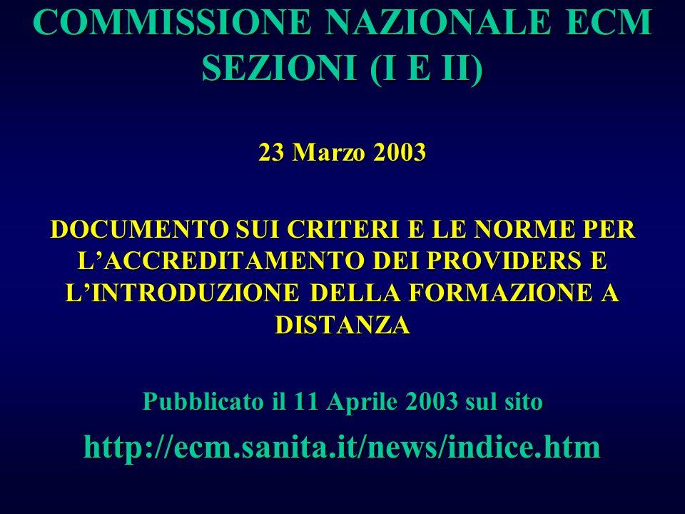 COMMISSIONE NAZIONALE ECM SEZIONI (I E II)