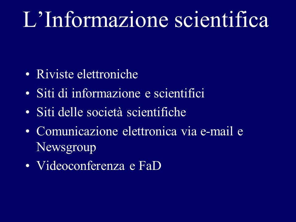 L'Informazione scientifica