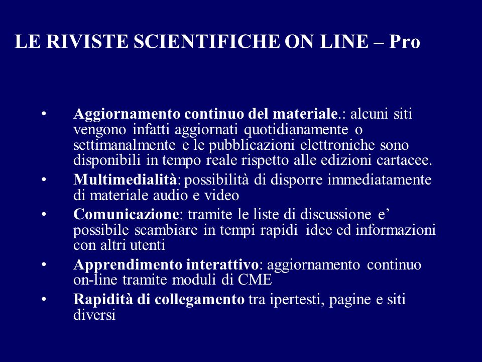 LE RIVISTE SCIENTIFICHE ON LINE – Pro