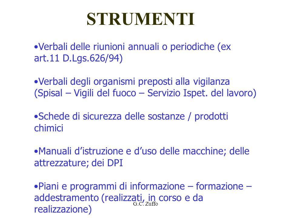 STRUMENTI Verbali delle riunioni annuali o periodiche (ex art.11 D.Lgs.626/94)