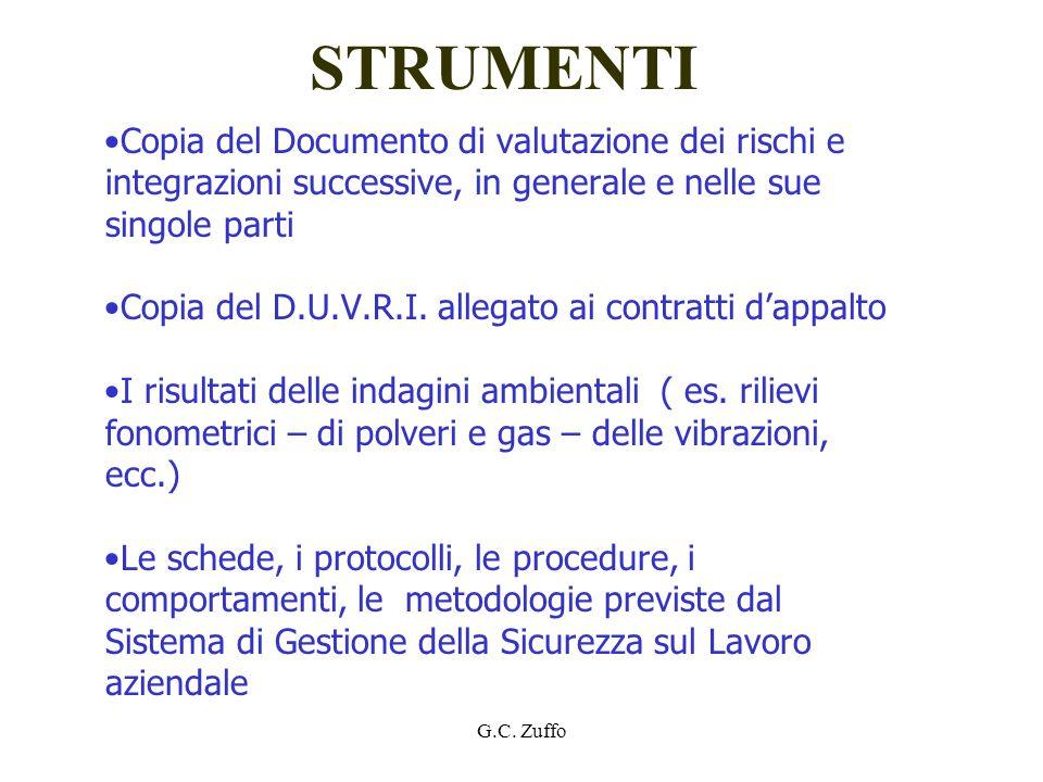 STRUMENTI Copia del Documento di valutazione dei rischi e integrazioni successive, in generale e nelle sue singole parti.