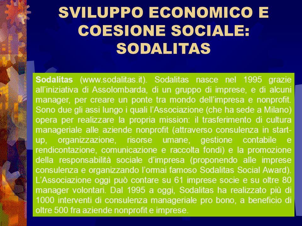 SVILUPPO ECONOMICO E COESIONE SOCIALE: