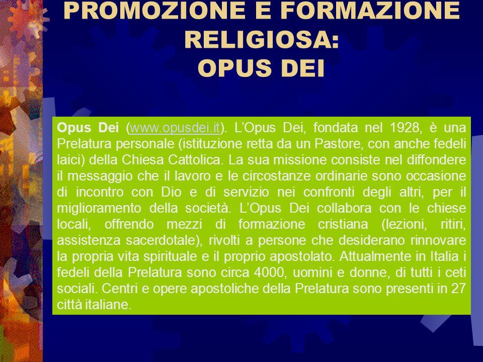 PROMOZIONE E FORMAZIONE RELIGIOSA: