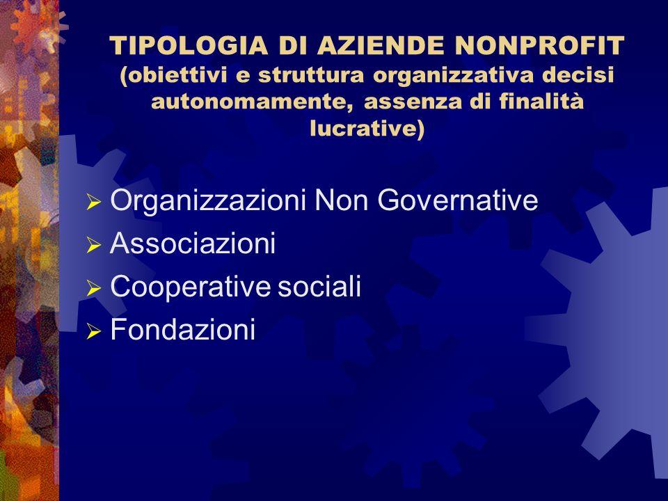 Organizzazioni Non Governative Associazioni Cooperative sociali