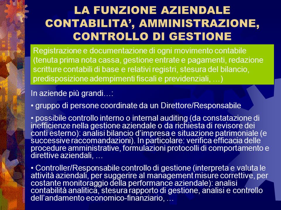 LA FUNZIONE AZIENDALE CONTABILITA', AMMINISTRAZIONE, CONTROLLO DI GESTIONE