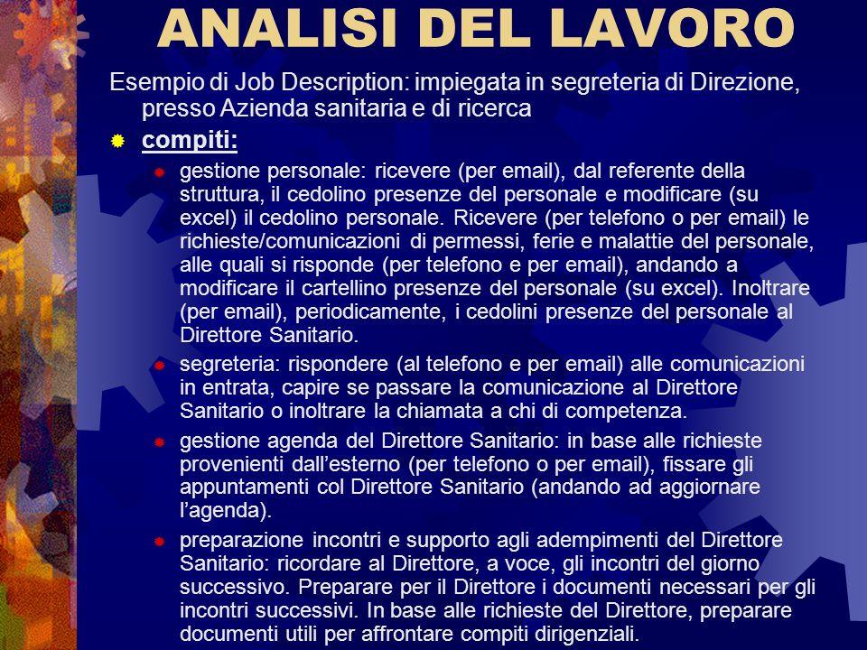 ANALISI DEL LAVORO Esempio di Job Description: impiegata in segreteria di Direzione, presso Azienda sanitaria e di ricerca.