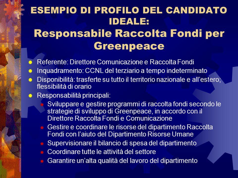 ESEMPIO DI PROFILO DEL CANDIDATO IDEALE: Responsabile Raccolta Fondi per Greenpeace