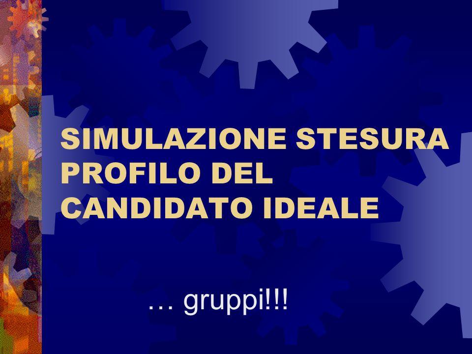 SIMULAZIONE STESURA PROFILO DEL CANDIDATO IDEALE
