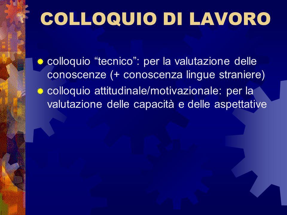 COLLOQUIO DI LAVOROcolloquio tecnico : per la valutazione delle conoscenze (+ conoscenza lingue straniere)