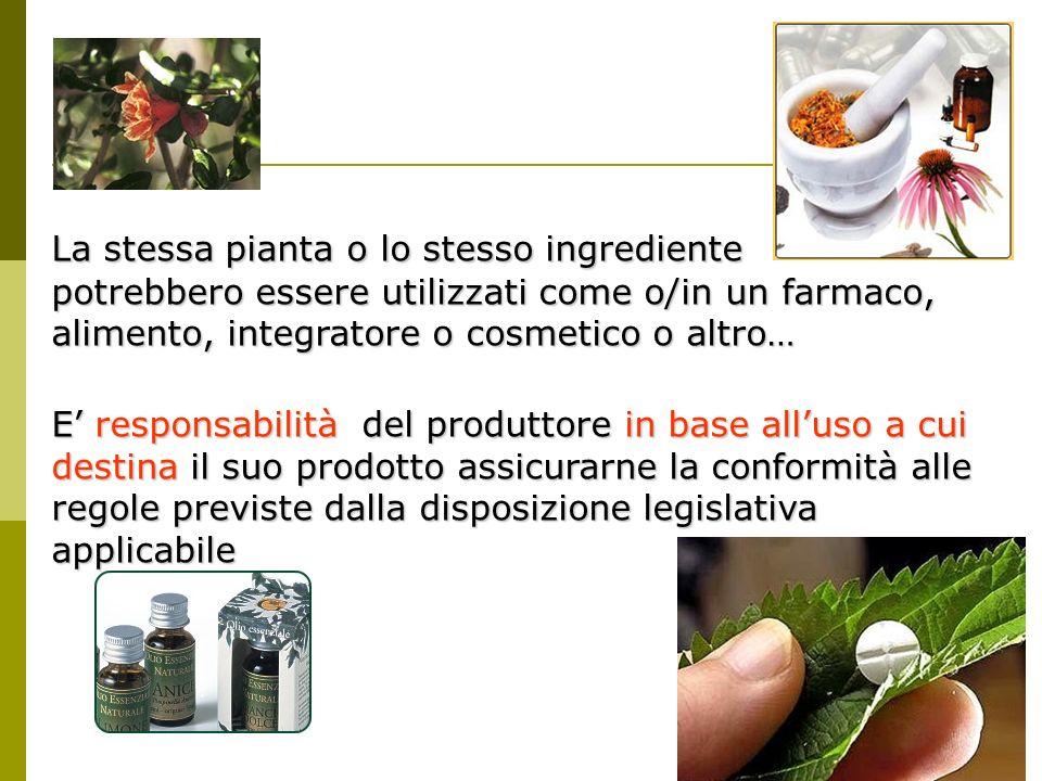 La stessa pianta o lo stesso ingrediente