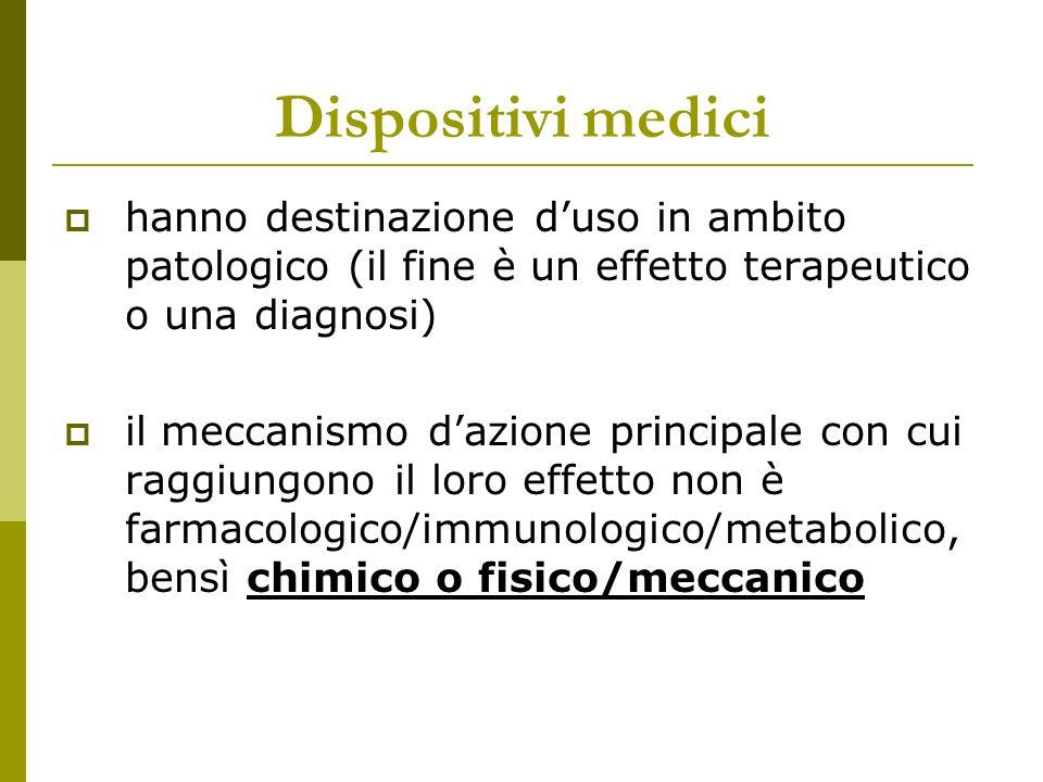 Dispositivi medici hanno destinazione d'uso in ambito patologico (il fine è un effetto terapeutico o una diagnosi)