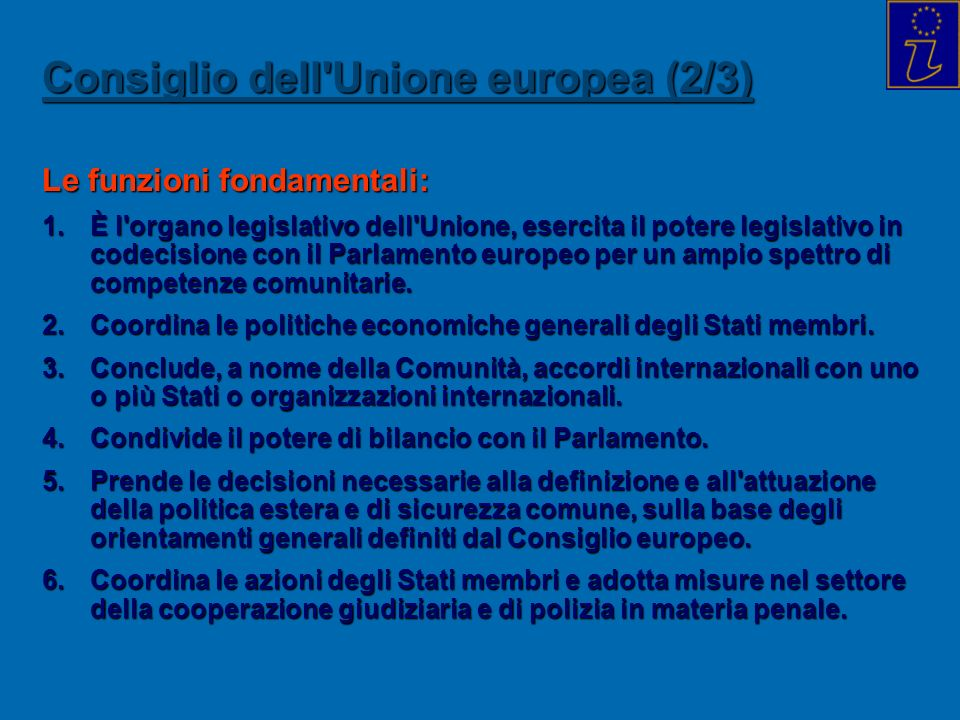 Consiglio dell Unione europea (2/3)