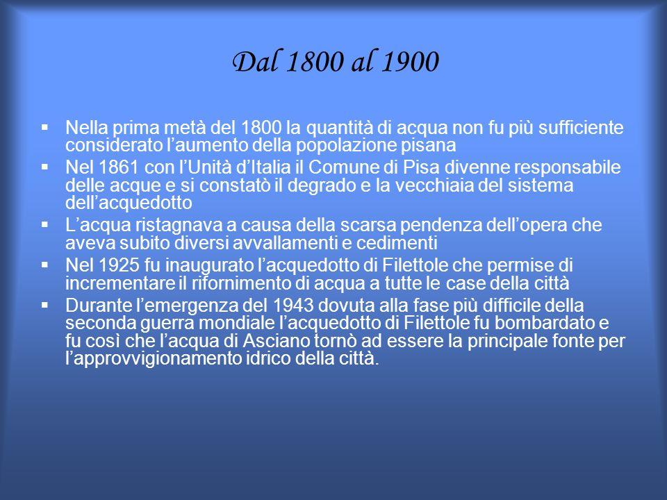 Dal 1800 al 1900 Nella prima metà del 1800 la quantità di acqua non fu più sufficiente considerato l'aumento della popolazione pisana.