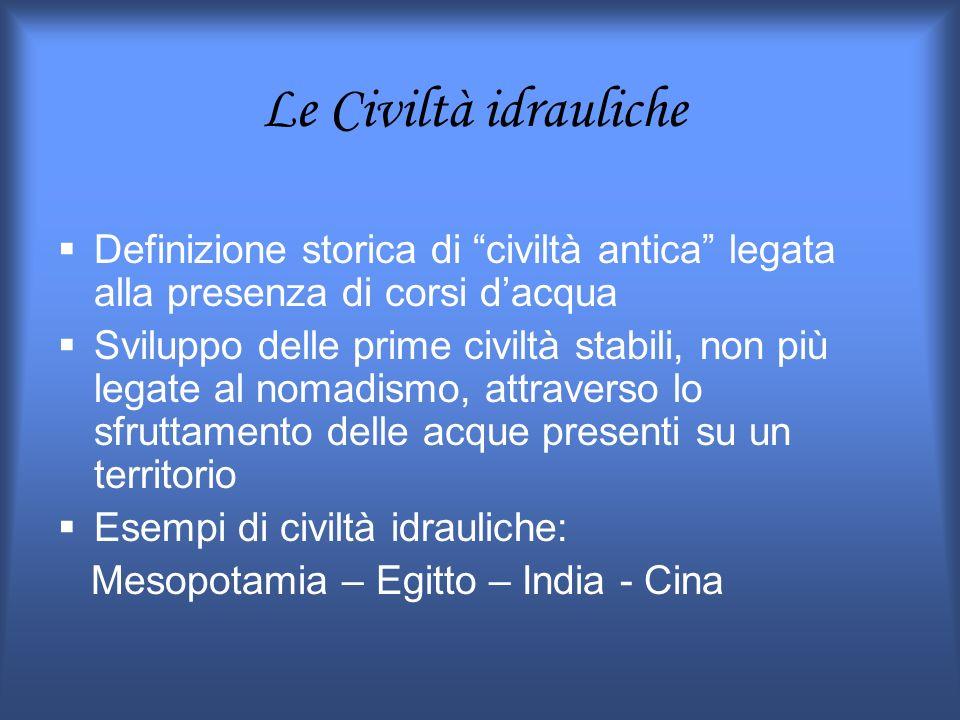 Le Civiltà idrauliche Definizione storica di civiltà antica legata alla presenza di corsi d'acqua.