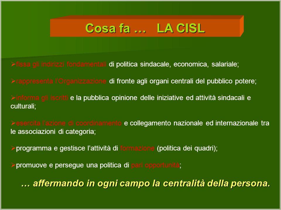 Cosa fa … LA CISL fissa gli indirizzi fondamentali di politica sindacale, economica, salariale;