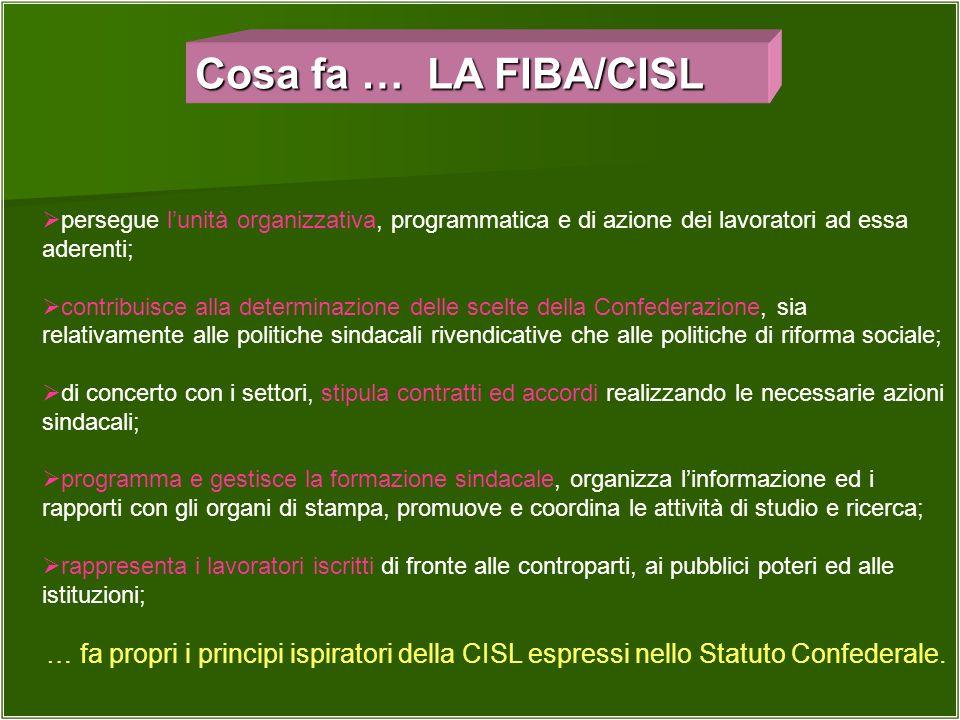 Cosa fa … LA FIBA/CISL persegue l'unità organizzativa, programmatica e di azione dei lavoratori ad essa aderenti;