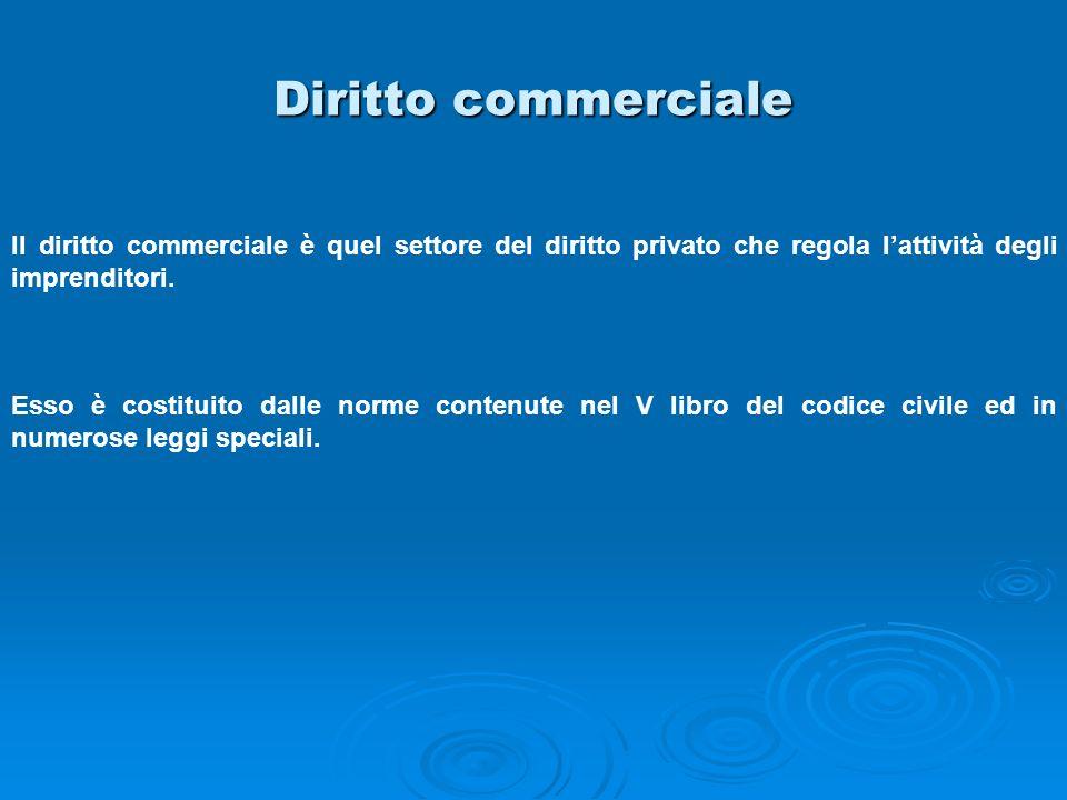 Diritto commerciale Il diritto commerciale è quel settore del diritto privato che regola l'attività degli imprenditori.