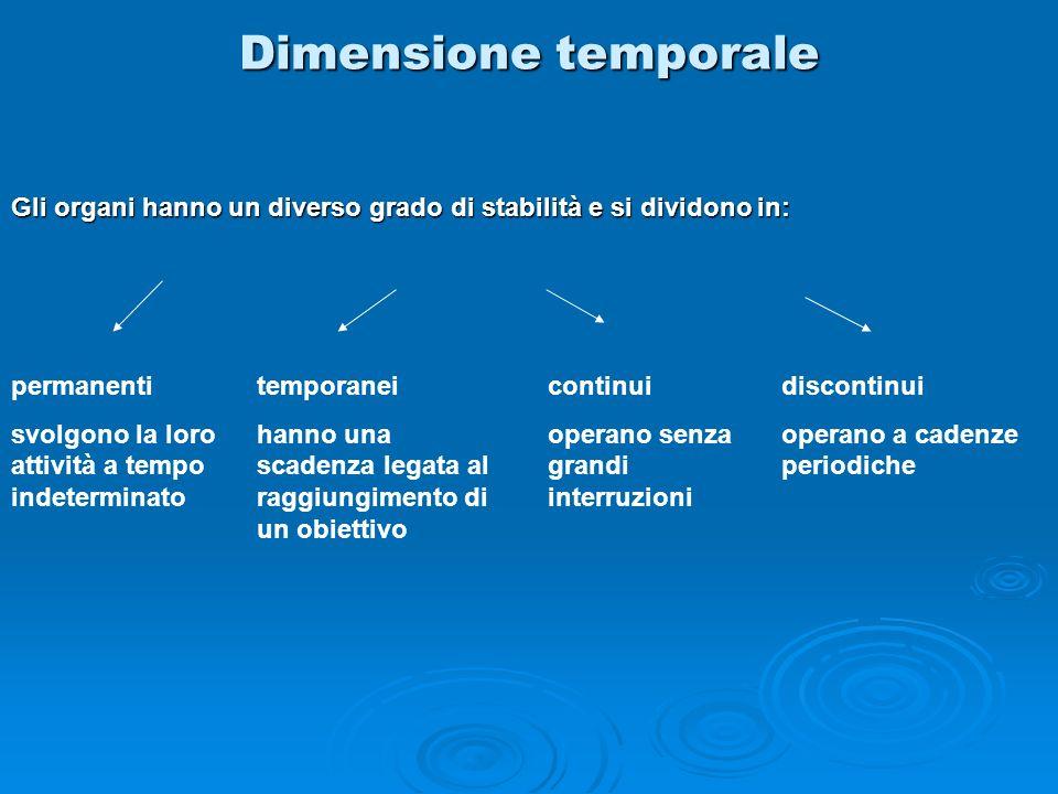 Dimensione temporale Gli organi hanno un diverso grado di stabilità e si dividono in: permanenti. svolgono la loro attività a tempo indeterminato.