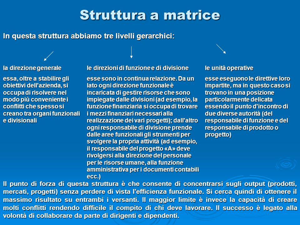 Struttura a matrice In questa struttura abbiamo tre livelli gerarchici: la direzione generale.