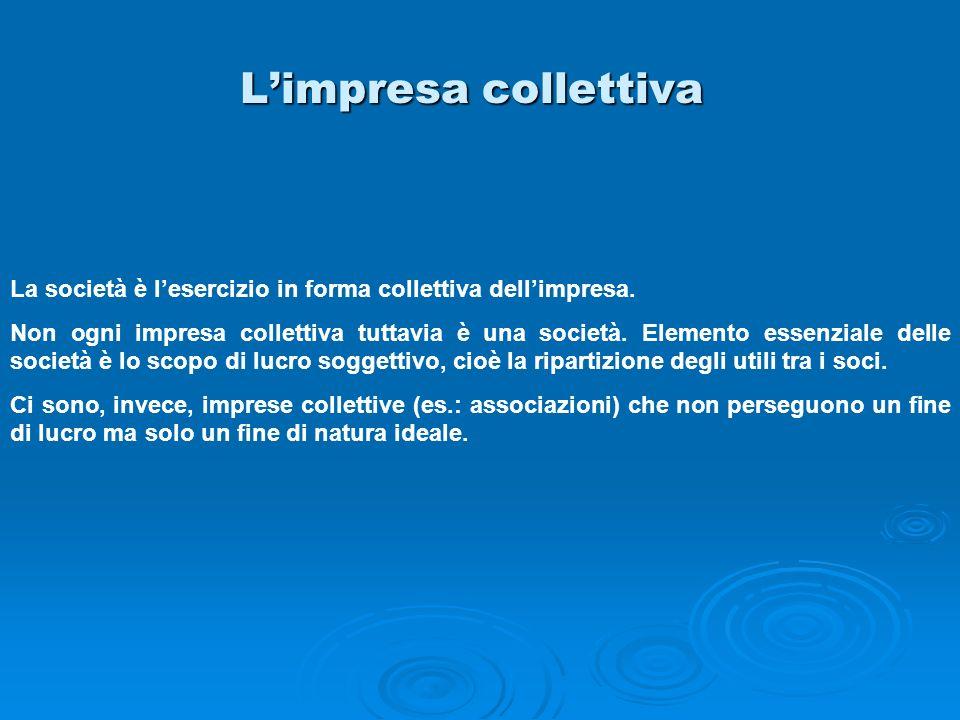L'impresa collettiva La società è l'esercizio in forma collettiva dell'impresa.