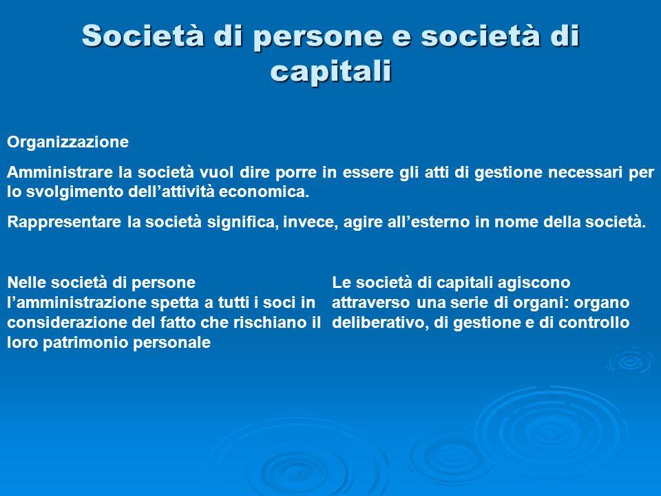 Società di persone e società di capitali