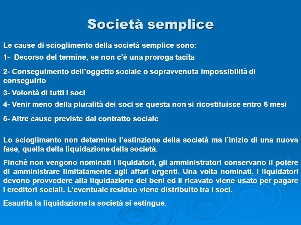 Società semplice Le cause di scioglimento della società semplice sono: