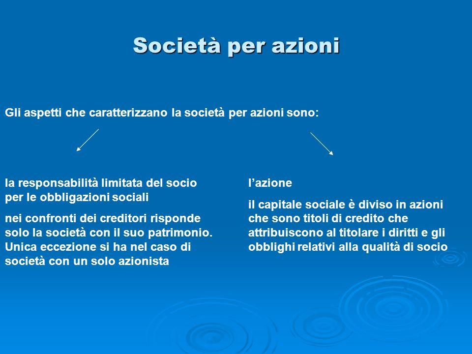 Società per azioni Gli aspetti che caratterizzano la società per azioni sono: la responsabilità limitata del socio per le obbligazioni sociali.