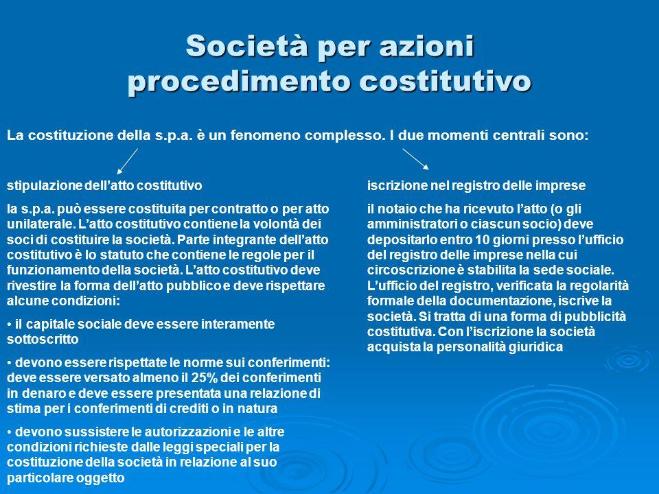Società per azioni procedimento costitutivo