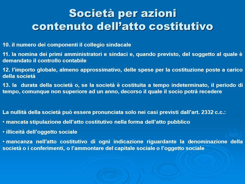 Società per azioni contenuto dell'atto costitutivo
