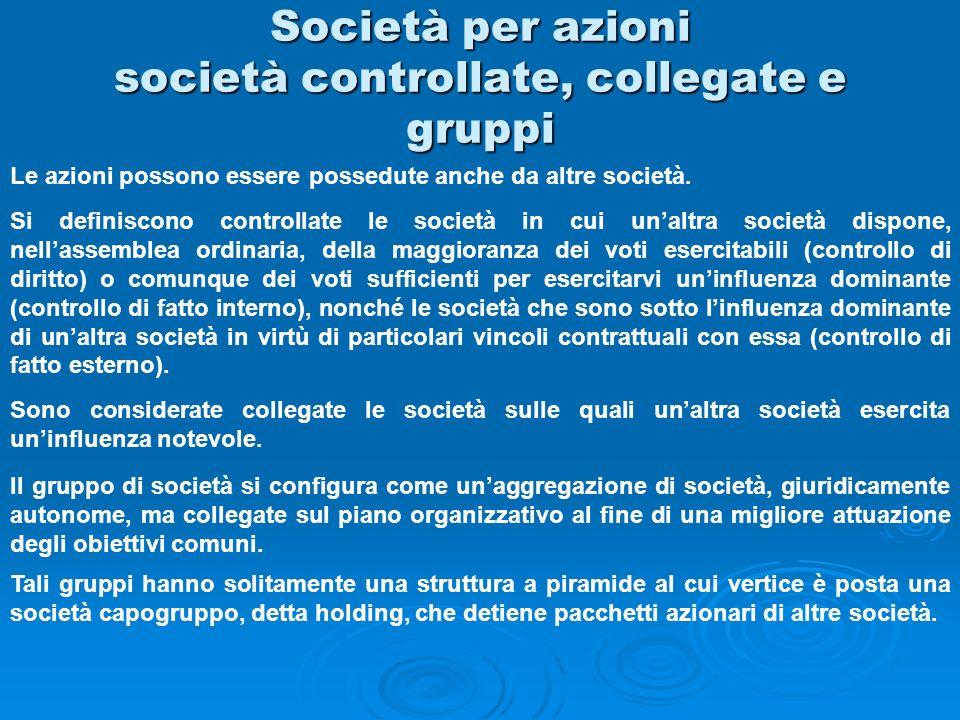 Società per azioni società controllate, collegate e gruppi