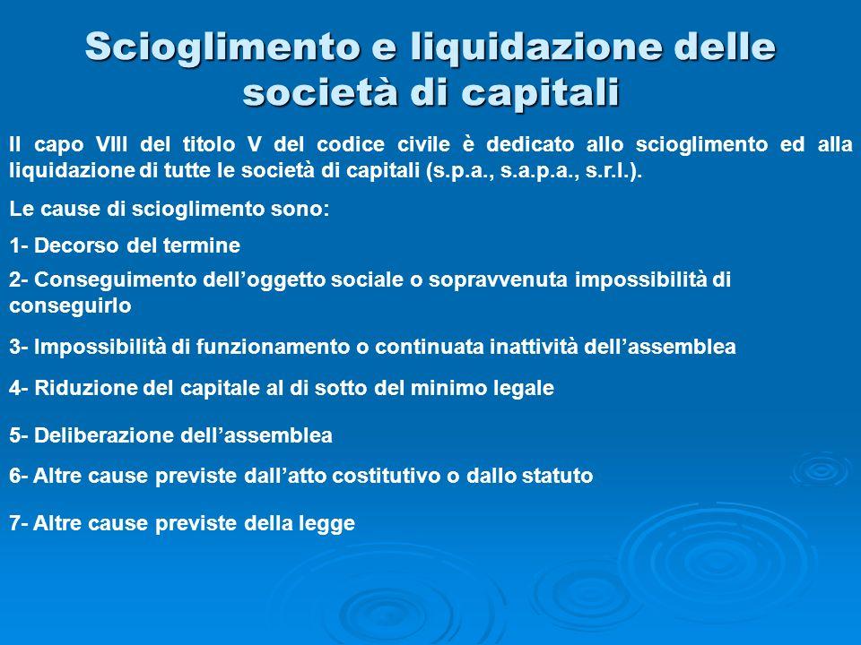 Scioglimento e liquidazione delle società di capitali