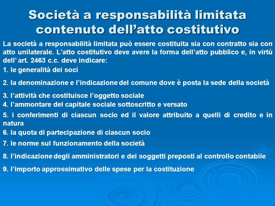 Società a responsabilità limitata contenuto dell'atto costitutivo