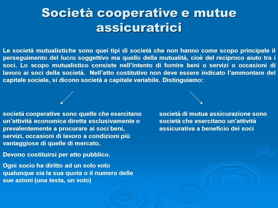 Società cooperative e mutue assicuratrici