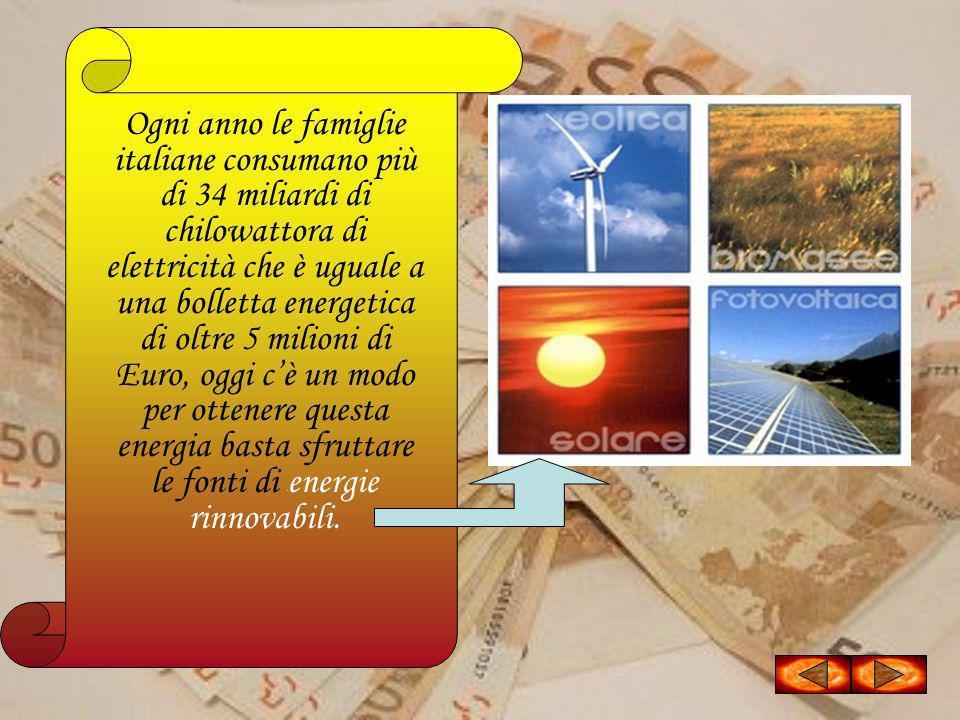 Ogni anno le famiglie italiane consumano più di 34 miliardi di chilowattora di elettricità che è uguale a una bolletta energetica di oltre 5 milioni di Euro, oggi c'è un modo per ottenere questa energia basta sfruttare le fonti di l'energie rinnovabili.