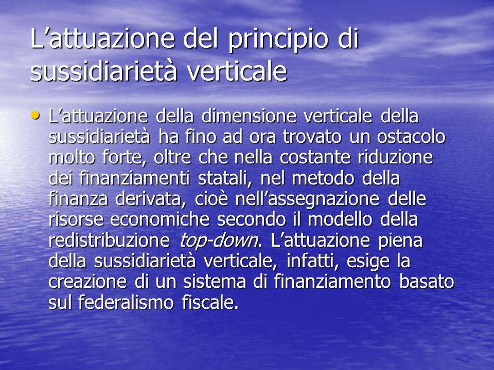 L'attuazione del principio di sussidiarietà verticale