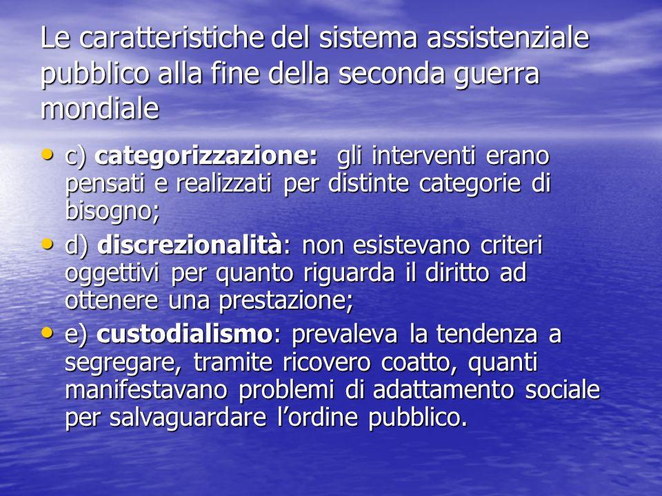 Le caratteristiche del sistema assistenziale pubblico alla fine della seconda guerra mondiale