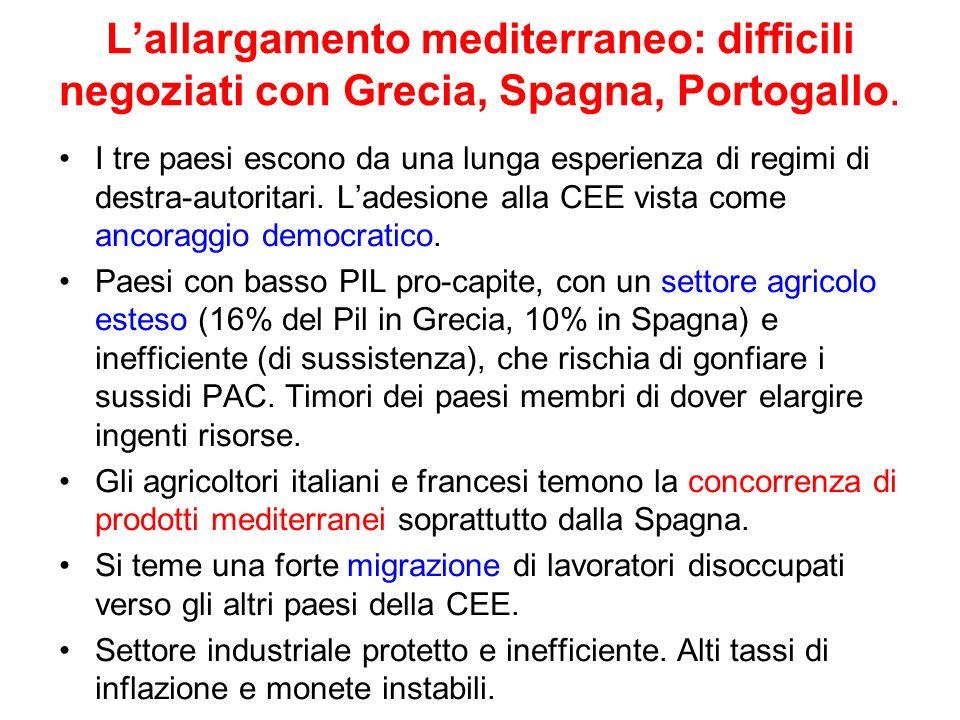 L'allargamento mediterraneo: difficili negoziati con Grecia, Spagna, Portogallo.