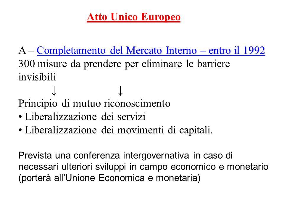 A – Completamento del Mercato Interno – entro il 1992
