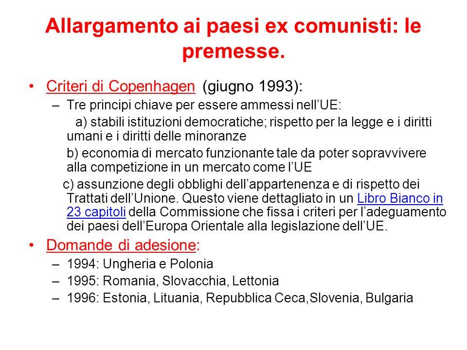 Allargamento ai paesi ex comunisti: le premesse.