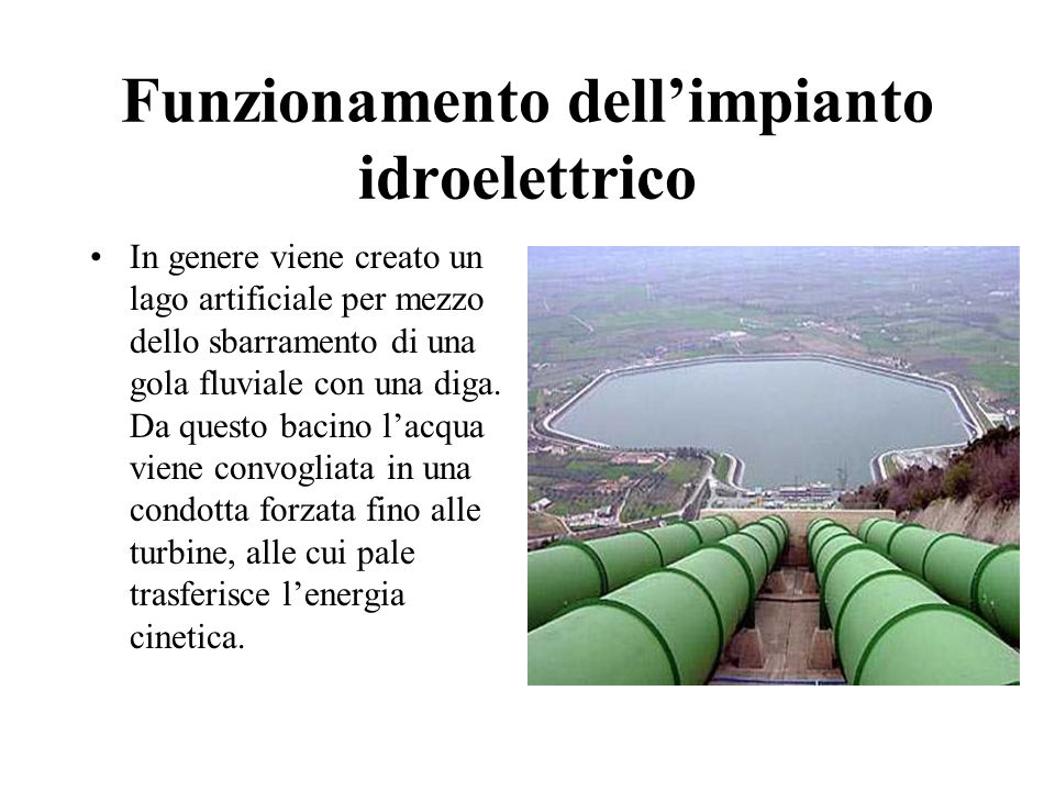 Funzionamento dell'impianto idroelettrico