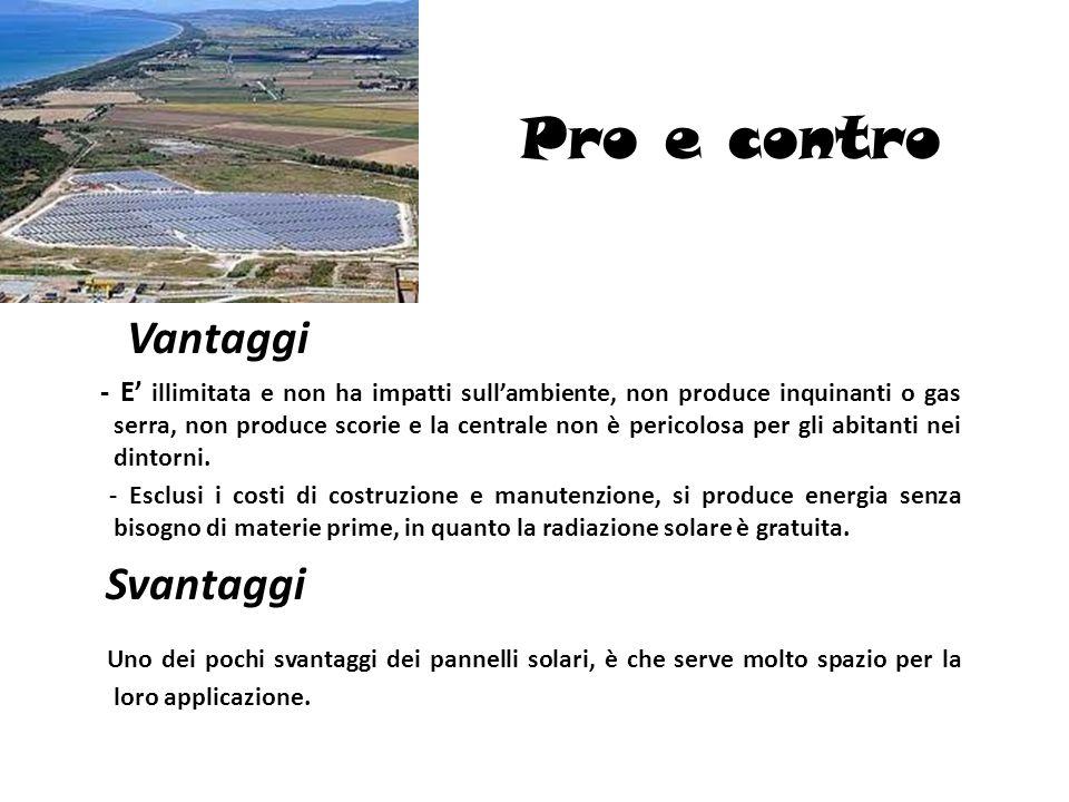 Pro e contro Vantaggi.