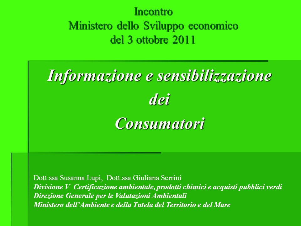 Incontro Ministero dello Sviluppo economico del 3 ottobre 2011