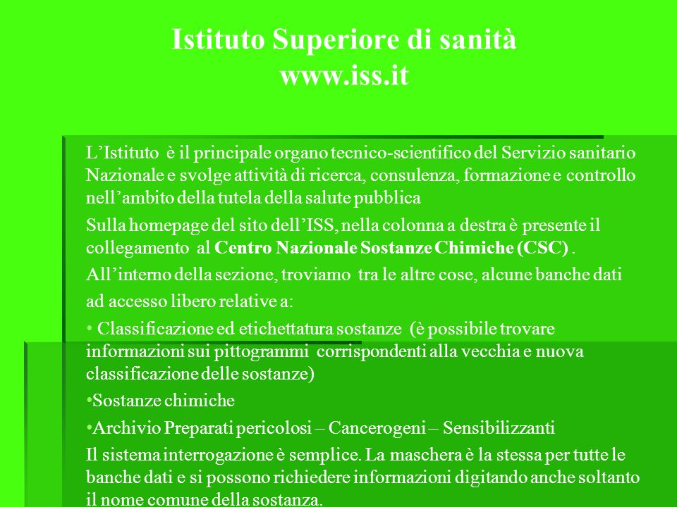 Istituto Superiore di sanità www.iss.it