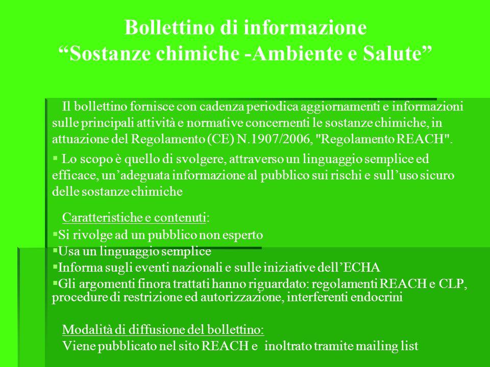 Bollettino di informazione Sostanze chimiche -Ambiente e Salute