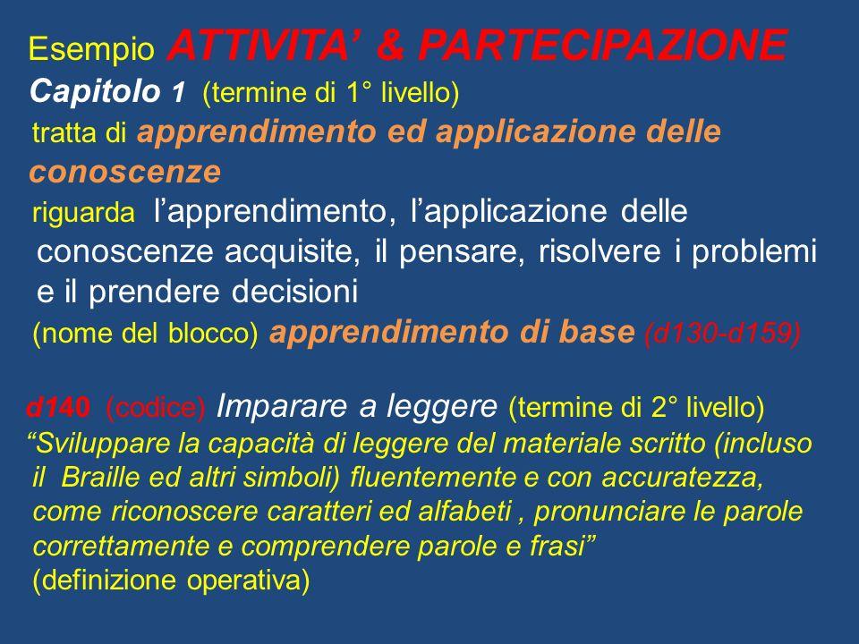 Esempio ATTIVITA' & PARTECIPAZIONE Capitolo 1 (termine di 1° livello)