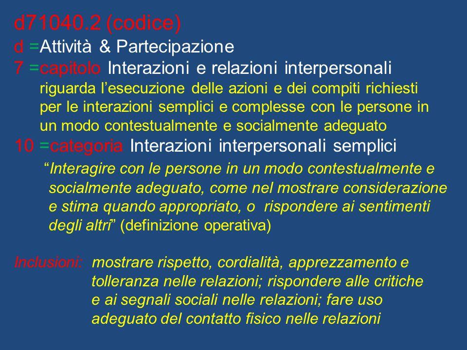 d71040.2 (codice) d =Attività & Partecipazione