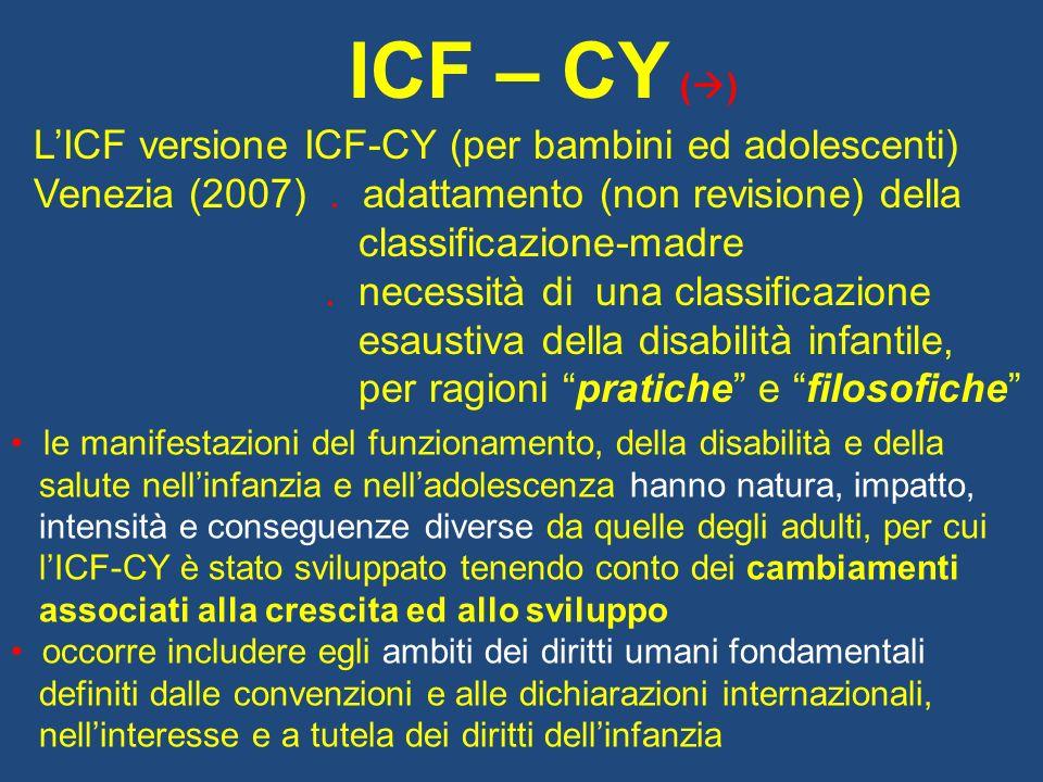 ICF – CY () L'ICF versione ICF-CY (per bambini ed adolescenti)