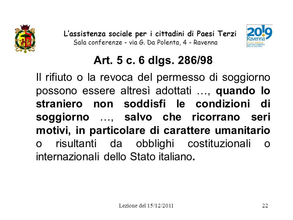 L'assistenza sociale per i cittadini di Paesi Terzi Sala conferenze - via G. Da Polenta, 4 - Ravenna